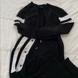Black zip up jacket and jogger pants set